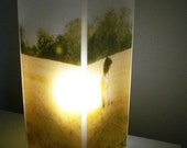 Glass Polaroid Photo Table Lamp - Fields of Gold - Unique Housewarming Gift, Home Decor, Functional Illuminated Art