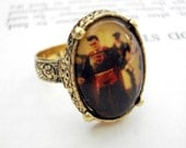 CLEARANCE Vintage Heirloom Nerdy Polaroid Photo Ring - Antique Gold - Superheroes LAST ONE
