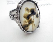 Vintage Heirloom Polaroid Photo Ring - Antique Silver - Orchid Ghost - (LIMITED STOCK) - jerseymaids