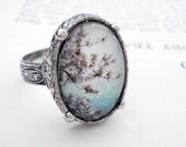 CLEARANCE Heirloom Polaroid Ring - Antique Silver - Cherry Blossoms - LAST ONE
