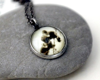 Clearance DISCONTINUED Petite Polaroid Floral Photo Pendant Necklace - Antique Silver Gunmetal - Orchid Ghosts - Small and Simple