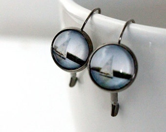 Clearance DISCONTINUED Simple Nautical Boat Polaroid Photo Earrings - Antique Silver Gunmetal - Sail Away - Great for Bridesmaids, Mom