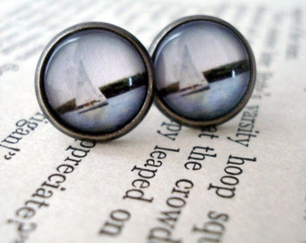 Clearance DISCONTINUED Simple Sailboat Stud Earrings - Antique Silver Gunmetal - Sail Away with Me - Great for Bridesmaids, Mom, Weddings