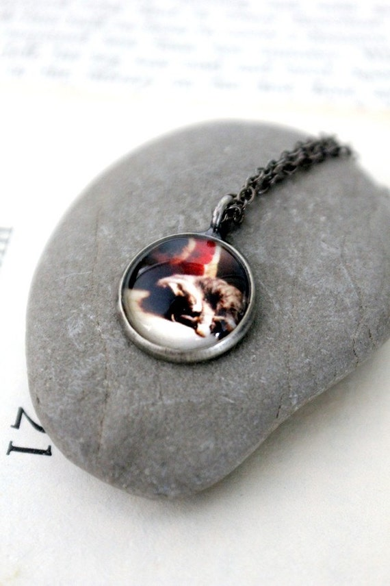 CLEARANCE Petite Polaroid Kitty Photo Pendant Necklace - Antique Silver Gunmetal - Dawn's First Light - Small, Simple, Great for Bridesmaids