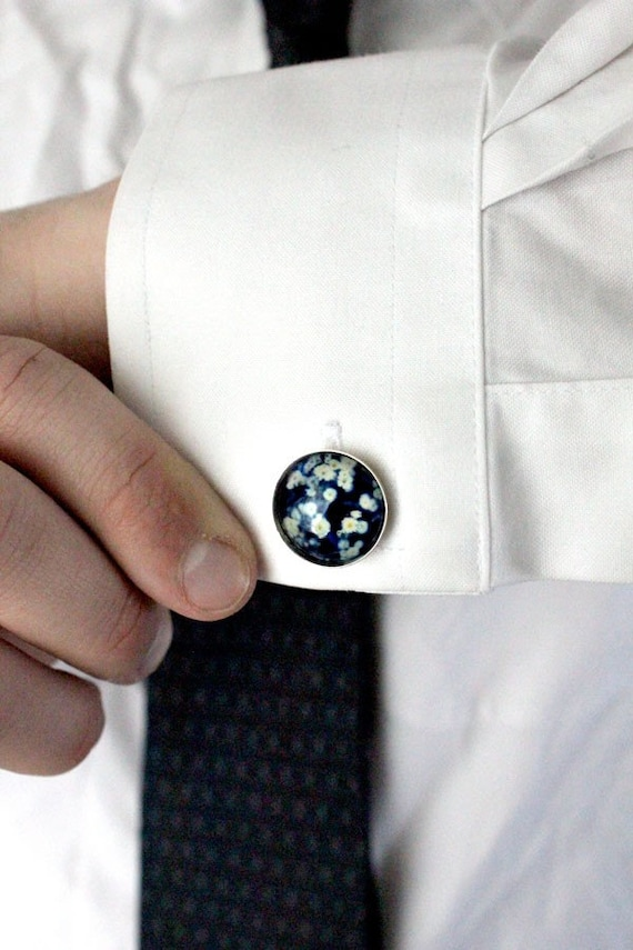 CLEARANCE Photo Cufflinks - Silver - Botanical in Blue - Great for Weddings, Groomsmen, Father of the Bride, Dad, Best Man, Dudes