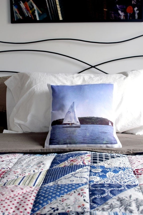 CLEARANCE Polaroid Photo Sailboat Throw Pillow Cover - Sail Away with Me - Unique Nautical Housewarming Gift, Home Decor LAST ONE