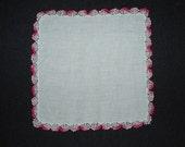 Vintage Hankie Handkerchief Pink Scalloped Edges