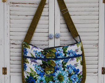 Made with Vintage Upcycled Messenger Bag Purse Tote
