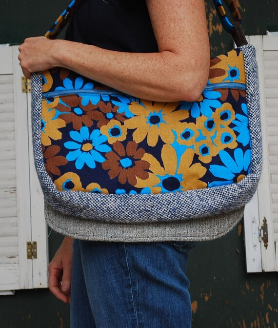 Book/Laptop Bag                      Made with Vintage//One of a Kind Messenger