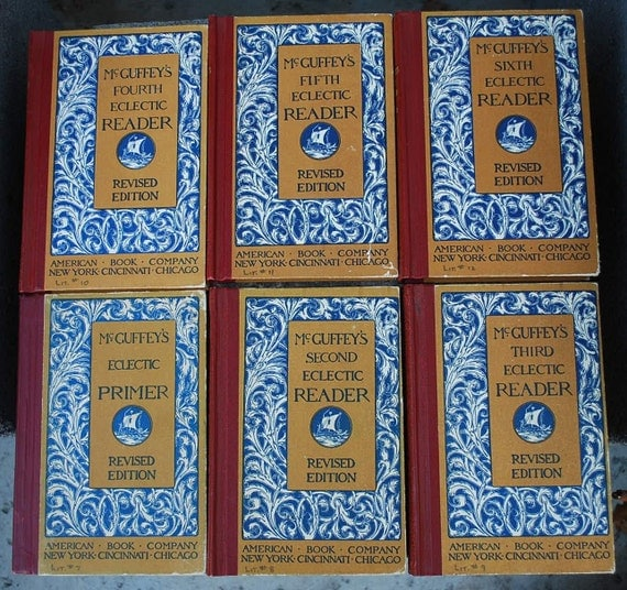 6 Vintage McGuffey's Eclectic Readers 2-6 and primer