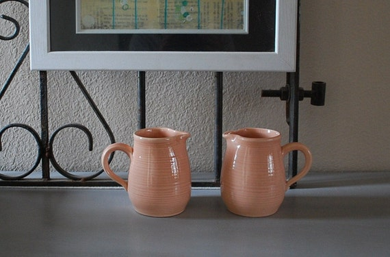 2 Vintage Franciscan Reflections Peach Creamers Pitchers