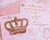 Pink  Princess Crown  Invitations with Shimmering Pink Envelopes Set of Six