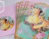 Juene Fille with avec L'oiseau Sucre Pour Vous Beautiful Card or Invitations Set and Seals
