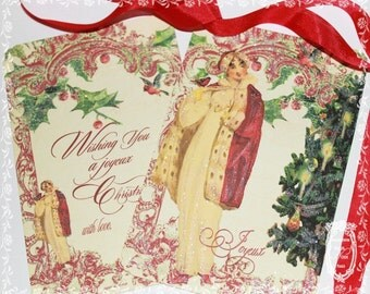 The Red Christmas Coat Jane Austen Inspired Set of 6 Holiday Cards and Envelope Seals
