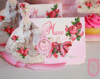 Place Cards Marie Antoinette La Bella Roses Glittered  with Die-Cut Marie Set of Six