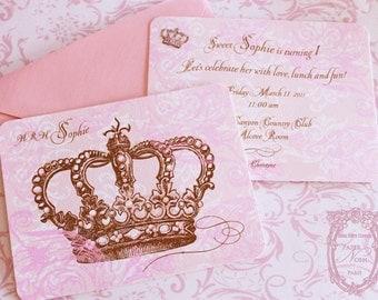 Princess Crown Invitations Set Includes Pink Shimmering Envelopes and Crown Seals Set of 6