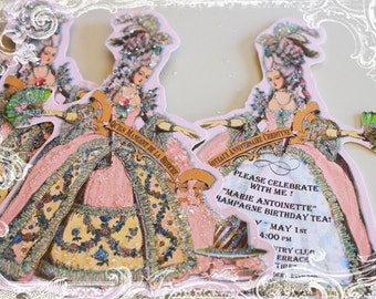"""Marie Antoinette Party Invitations Large, 5 x 7"""" Die Cut Design with Shimmering Pink Envelopes"""