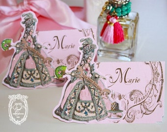 Marie Antoinette Glittered Placecards with Die-Cut Marie and Baroque Frame Set of Six