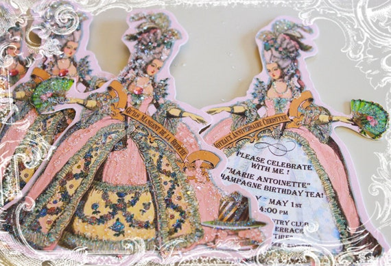 "Marie Antoinette Party Invitations Large, 5 x 7"" Die Cut Design with Shimmering Pink Envelopes"