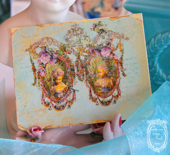 Garden of The Ancients for Marie Antoinette Set of 6 Folding Cards with Shimmering Aqua Envelopes and Glossy Seals