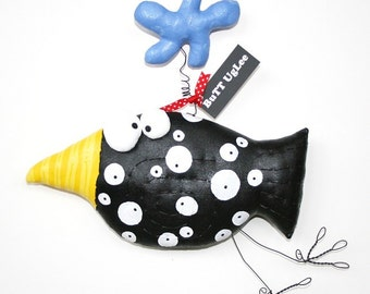 BirD named  Picasso with blue Cloud ... Whimsical WaLL ArT ... black and white polka dots, bright yellow beak