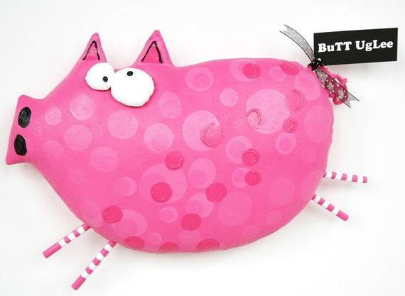 PiG Named Mayhem... WhimsicaL WaLL ArT ... pink polka dot PiG ... FarM AniMaL