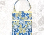 Fabric Cellphone Iphone case. Vegan.  Padded w 3 Pockets, Grab n Go pouch. Fits Iphone Android Smartphone Cameras. Soft Blue Yellow Floral.