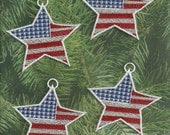 Set of 4 Patriotic Star Lace Ornaments