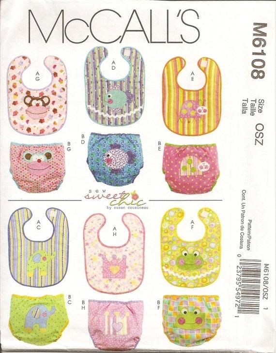 McCalls Pattrn 6108 Infant Bibs and Diaper Covers UNCUT