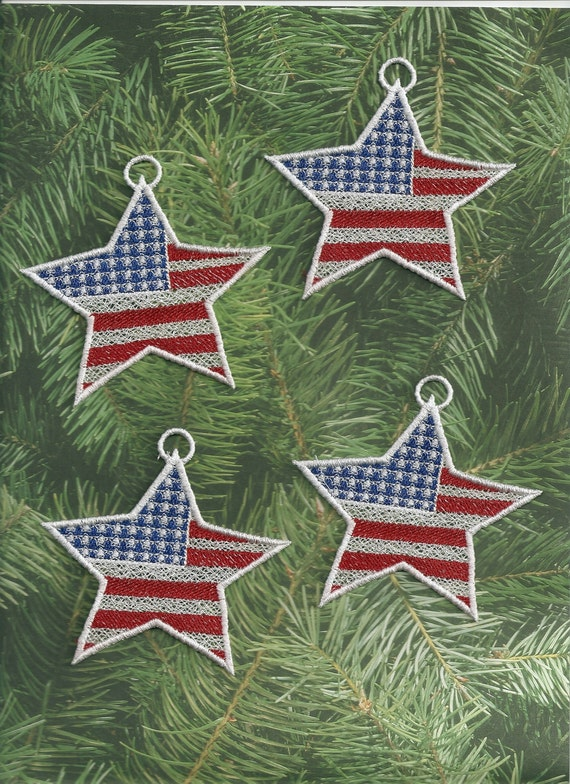 Set of 4 Patriotic Star Lace Ornaments