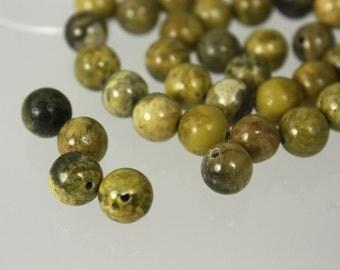 Round Olive Jade Beads--Five beads