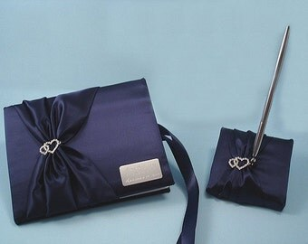Navy Blue Wedding Guest Book and Pen with Linked Rhinestone Hearts and Personalized Engraving