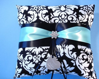 Ring Bearer Pillow, Personalized Wedding Ring Pillow in Black and White Damask with Engraving, Rhinestones and Custom Colors