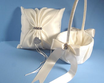 Personalized Wedding Ring Bearer Pillow and Flower Girl Basket In Your Custom Colors with Swarovski Crystals