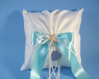 Ring Bearer Pillow, Personalized Beach Wedding Ring Pillow with Starfish In Your Custom Colors