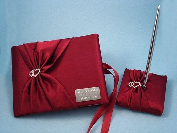 Apple Red Wedding Guest Book and Pen Set with Linked Hearts and Personalized Engraving