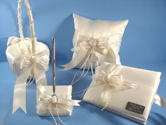 beach wedding guest book pen beach theme ring bearer pillow and