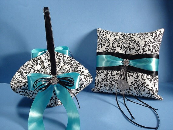 Personalized Ring Bearer Pillow and Flower Girl Basket in Madison Damask with Rhinestones and Personalized Engraving