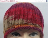 ON SALE Hand Knit Ribbed Knit Hat - Autumn Brights