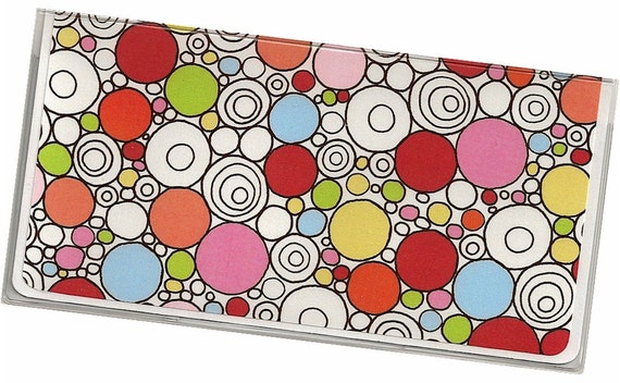 Checkbook Cover - Pink Red Green Blue Circles on White - a cardstock and clear vinyl check book cover  8a