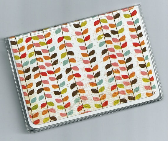Card Case/ Mini Wallet - Multicolored Graphic Vines - a clear vinyl and layered cardstock ID Cover - Jiko  5a