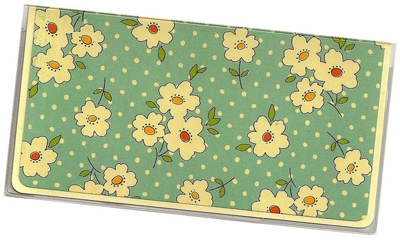 Checkbook Cover - Orange Yellow Floral on Blue  a cardstock and clear vinyl duplicate check book cover  Grandama's Apron  6a
