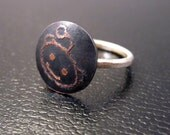 Alien Etched Copper and Silver Ring