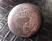Buddha etched copper and silver ring