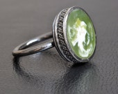 Green and White Swirl Resin Sterling Silver Ring