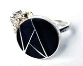 Sterling Silver Black Resin Flower Ring Size 6 1/2