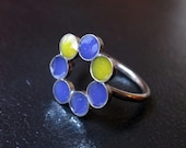 Sterling Silver and Resin Ring Multicolor Circles