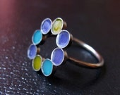 Resin and Sterling Silver Ring Multicolor Circles