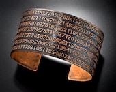 Pi Cuff Bracelet Etched in Copper Pi Day Jewelry