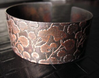Ginkgo Etched Cuff Bracelet in Copper